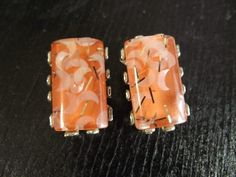 Vintage 60s Moon Lucite Orange Melon Confetti Earrings | eBay