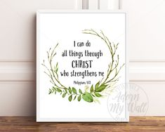 Items similar to Philippians I Can Do All Things Through Christ Who Strengthens Me, Bible Verse, Christian Wall Art, Scripture Prints, Christian Prints on Etsy Scripture Wall Art, Bible Verse Art, Bible Quotes, Rose Gold Quotes, Scriptures For Kids, Christian Wall Art, Christian Quotes, Bible Illustrations, Philippians 4 13