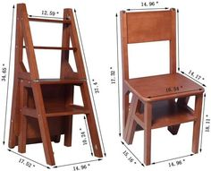 Cool Woodworking Projects, Woodworking Furniture, Wood Projects, Wood Furniture, Ladder Chair, Kitchen Step Stool, Diy Furniture Videos, Minimal House Design, Folding Ladder