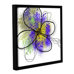ArtWall Irena Orlov's 'Purple Abstract Brush Splash Flower I' Gallery Wrapped Floater-framed