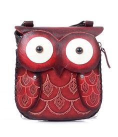 Unique Handmade Red Leather Owl Purse #uniquevintage