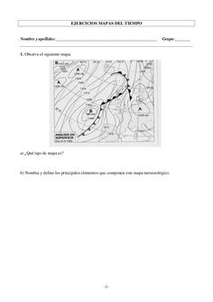 Modelos de ejercicios sobre interpretación de mapas del tiempo. 1º y 2º ESO CCNN