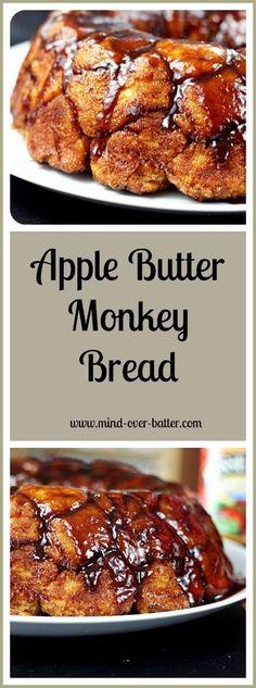 Apple Butter Monkey Bread - Mind Over Batter Quick Apple Dessert, Apple Desserts, Easy Desserts, Dessert Recipes, Peanut Butter Banana, Creamy Peanut Butter, Cream Cheese Homemade, Apple Cinnamon Rolls, Banana Chocolate Chip Muffins