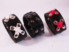 FREE SHIPPING! Handmade bracelets with black, red and white crosses and rivets for rockers, punks goth and heavy metal fans  by LEATHERELY on Etsy https://www.etsy.com/listing/227940585/free-shipping-handmade-bracelets-with