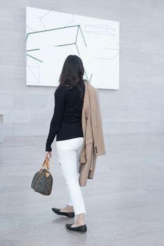 Girlfriend white Karolina jeans, J. Crew leather flats, Louis Vuitton Speedy 25 bag