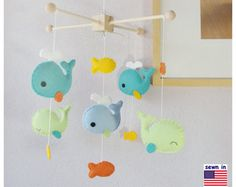 Baby Mobile Whales Mobile Sailboat Mobile Nautical by hingmade