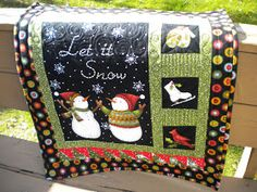 Wow I am on a roll of finishing my goals for FAL over at On the Windy Side. This panel was one of my goals -my fourth one in fact! Fabric Panel Quilts, Lap Quilts, Small Quilts, Fabric Panels, Fabric Art, Christmas Quilt Patterns, Christmas Sewing, Christmas Quilting, Christmas Snowman
