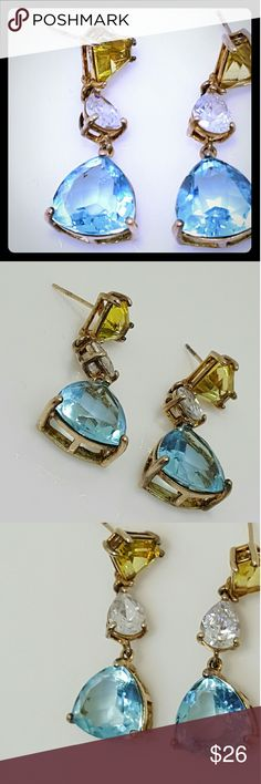 Gold plated 925 silver dangle earrings Gold plated 925 silver dangle earrings with light blue saphire colored and Canary yellow stone Jewelry Earrings