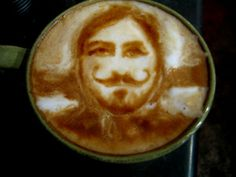 latte art- Man and his MUSTACHE