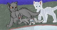 Graystripe leading his two kits away with his mate Silverstream's  ghost following