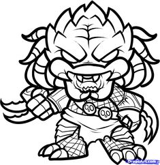 How To Draw Chibi Predator, Alien Vs Predator, Step by Step, Drawing Guide, by Dawn Free Printable Coloring Pages, Free Coloring Pages, Coloring For Kids, Adult Coloring, Coloring Books, Colouring, Cartoon Drawings, Drawing Sketches, Crane