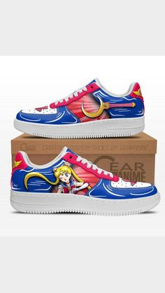 Air Force Shoes, Birthday Wishes For Myself, Painted Shoes, Cute Shoes, Sailor Moon, Casual Shoes, Fashion Shoes, Character Design, Anime