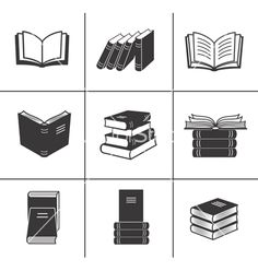 Book icons set vector 1219830 - by vectorinka on VectorStock®