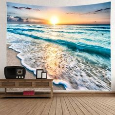 Sunrise Beach Waves Print Tapestry Wall Hanging Art Decoration