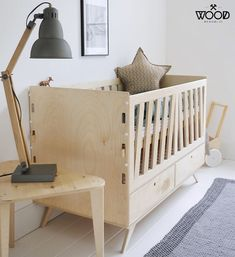 scandi style baby's room with a wooden crib #interior #design #interiordesign #scandi #scandinavian #natural #modern #wood #plywood #birch #customized #minimalist #wooden #crib #cot #bed #baby #babys #toddler #child #newborn #room #bedroom #mattress #dynamic #growing #span #drawers #drawer #wardrobe #children #childs #sleep #eco #friendly #certificate #pastel #pastelove #ideas