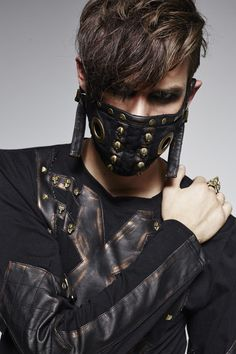 Low facial mask mouth cover with rivets and skull steampunk gothic > ARMURE GN - ACCMAS093