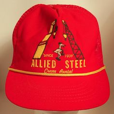 f8f45b00621 70s Allied Steel Crane Rental Red Mesh Trucker Snapback Hat Oklahoma Rare  Industrial Construction Worker Promotional Material Agriculture OK