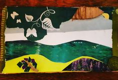 Lanscape. Cut-out collage with recycled materials