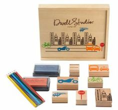 """Dwellstudio Stamp Set, City by DwellStudio. $18.16. City stamp set, Includes 7 stamps, 2 ink pads and 5 pencils, A classic even today's kids will love, Reusable 8 x 10"""" pine box for easy storage, Ages 3 and up. From the Manufacturer                A classic even today's kids will love. DwellStudio's stamp sets feature young artist's favorite motifs and let bright imaginations run wild. Includes 7 stamps, 2 ink pads, 5 pencils, all in an adorable 8 x 10"""" pine box for easy st..."""