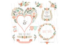 Vintage Heart Shape Flower Wreath by YenzArtHaut on Creative Market