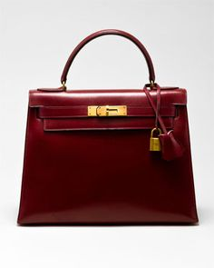 #Hermes Rouge Box Leather Kelly 28cm #burgundy
