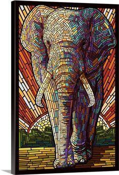 African Elephant - Paper Mosaic: Retro Art Poster