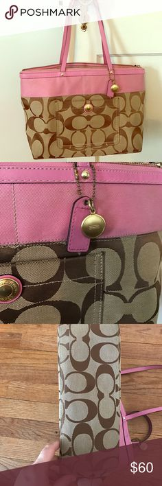 Coach Bag. Pink and Brown signature print This authentic Coach bag is so cute! Perfect for spring!  This pink and light brown bag has gold accents and will look perfect on your shoulder!  The bottom is perfectly clean as well as the inside (see pictures). There are a couple blemishes that may come out, I've never tried to remove. None are visible while carry it. The first blemish is under the coach tag. The metal rubbed on the material. The other blemishes are from rubbing in a dark shirt…