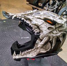 Badass Motorcycle Art with Badass Motorradkunst mit Dirt Bike Helmets, Motorcycle Helmet Design, Motorcycle Equipment, Motorcycle Style, Motorcycle Accessories, Motorcycle Touring, Motorcycle Quotes, Motocross Helmets, Racing Helmets