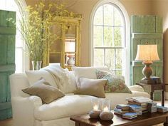 Traditional Living Room with Pottery barn carlisle upholstered sofa, Grid pattern window, Palladian window