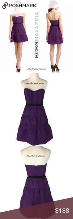 BCBGMAXAZRIA Strapless Pleated Chiffon Dress Pleated chiffon fashions a flirty strapless BCBGMaxAzria purple dress with a sweetheart bodice and contrasting waistline. A layer of tulle under the hem lends volume through the skirt. Retailed at $328. Excellent/like new condition, smoke free home. Measurements upon request. Please read my bio regarding closet policies prior to any inquiries. BCBGMaxAzria Dresses Mini