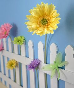 Picket fence for girls room. This is a really cute idea, but I would do a green background color under the fence