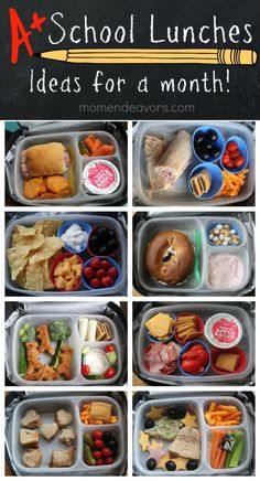 A month of school lunch ideas!