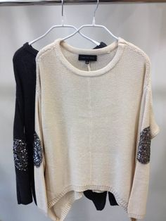 sweaters with sequin sparkly elbow pads