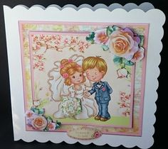 Wedding Day   Bride   Groom   Card Mini Kit   Decoupage on Craftsuprint created by Sue Soules - I printed the sheets onto matte photo paper. I cut out the main picture and attached it to a white scalloped card blank. The decoupage was added using foam pads.