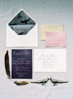 To The Manor ~ Scottish wedding inspiration. Love the bird print on the lining of the envelope. #putabirdonit