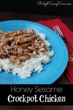 Honey Sesame Crockpot Chicken Recipe - I used boneless skinless thighs (put them in frozen) and they were done in 4-5 hours. I only used 1/2 cup of honey and less soy sauce than called for in the recipe.