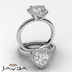 2 Ct Halo Pave Heart Diamond Engagement Brilliant Ring 14k White Gold F SI1 GIA | eBay