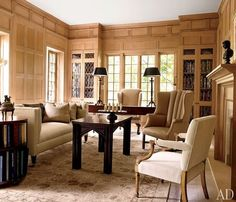 Tudor Revival house by architect Donald Lococo and designer Darryl Carter. Architectural Digest.
