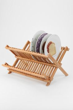 Bamboo Dish Rack - looks nice and can be stored away. Better then the plastic ones