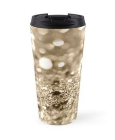 """Champagne Gold Lady Glitter #1 #shiny #decor #art"" Travel Mugs by anitabellajantz 