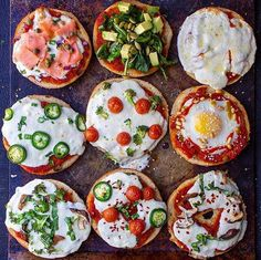 Assorted Pizza Bagels: Smoked Salmon, Baked Egg & Pine Nuts, Spinach & Avocado, Jalapeño, Mozzarella & Mushroom recipe by Amy Kritzer Breakfast Specials, Breakfast For Dinner, Breakfast Recipes, Dinner Recipes, Homemade Dough Recipe, Brownies, Pizza Day, Yummy Healthy Snacks, Delicious Food
