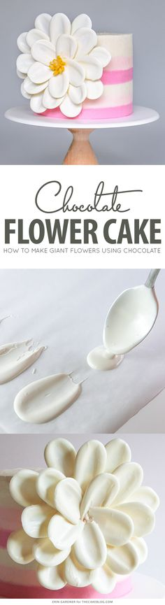 White Chocolate Flower Cake – how to make a side chocolate flower cake, using candy melts and everyday tools Cake Decorating Techniques, Cake Decorating Tutorials, Cookie Decorating, Decorating Supplies, Decorating Ideas, Cupcakes Decorating, Decorating Websites, Chocolate Flowers, Chocolate Cake