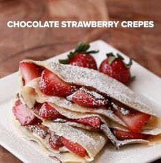 Servings: 2INGREDIENTS2 crepes (above)½ cup chocolate hazelnut spread10 strawberries, slicedPowdered sugarPREPARATIONSpread half of the chocolate hazelnut spread on half of the crepe.Lay half of the strawberries on the chocolate spread.Fold the other half of the crepe on top of the strawberries, then fold the crepe in half.Repeat with the other crepe.Dust with powdered sugar, then serve!