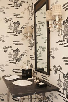 Black and white chinoiserie - Elizabeth Dinkel - Beverly Hills Powder Room B&w Wallpaper, Painting Wallpaper, Bathroom Wallpaper, Chinese Wallpaper, Amazing Wallpaper, Timeless Bathroom, Beautiful Bathrooms, Guest Bathrooms, Bathroom Ideas