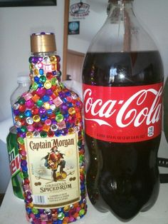 bought a bottle of captain and stick on rhinestones from walmart. #great gift idea for 21st birthday