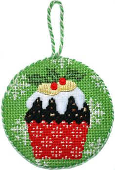 Holly Christmas Cupcake Needlepoint Ornament by Kirk & Bradley stitch guide by Ruth Dilts