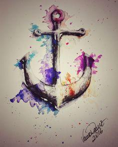 Splashed Anchor. Ilustración con Acuarelas. Watercolor illustration