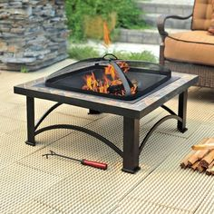 A fire pit can adds several weeks of enjoyment to your deck or backyard when the weather gets chilly. They're great for roasting marshmallows in the warmer months, too. This fire pit features a natural slate top complete with copper inlays for a sophisticated look.
