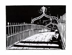 """Halfpenny Bridge - 6am"" ....lino print by Red Boy Prints 2015 ©"