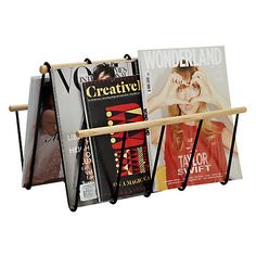 Buy John Lewis & Partners Brooklyn Magazine Rack from our Magazine Storage range at John Lewis & Partners. Magazine Storage, Magazine Rack, Wire Frame, Wood Accents, John Lewis, Brooklyn, Stuff To Buy, Design, Cambridge